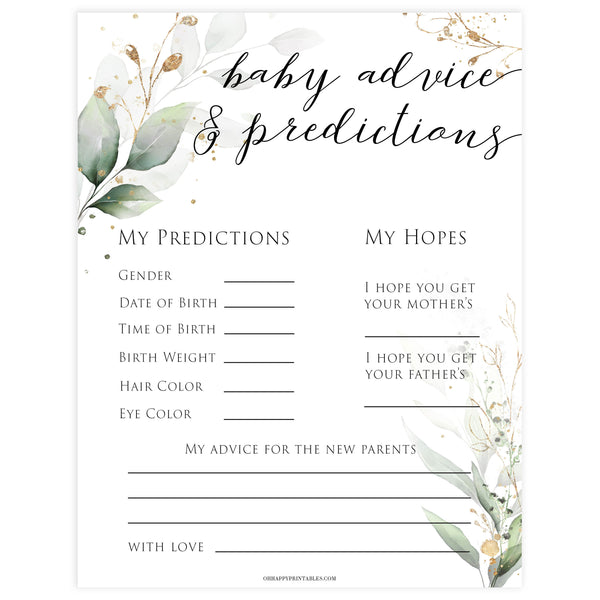 Gold green leaf baby games, baby advice and predictions, printable baby games, fun baby games, top baby games to play, gold leaf baby shower, greenery baby shower ideas