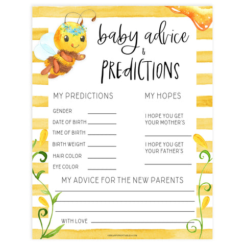 baby advice and predictions keepsake, Printable baby shower games, mommy bee fun baby games, baby shower games, fun baby shower ideas, top baby shower ideas, mommy to bee baby shower, friends baby shower ideas