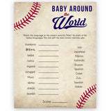 Baby Around The World Game, Baby in Different Languages, Baseball Baby Shower, Baby Shower Games, Travel Baby Game, Baby Shower Game, printable baby shower games, fun baby shower games, popular baby shower games