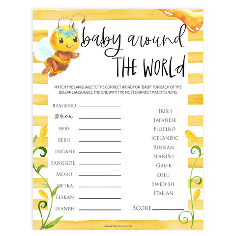 baby around the world, Printable baby shower games, mommy bee fun baby games, baby shower games, fun baby shower ideas, top baby shower ideas, mommy to bee baby shower, friends baby shower ideas