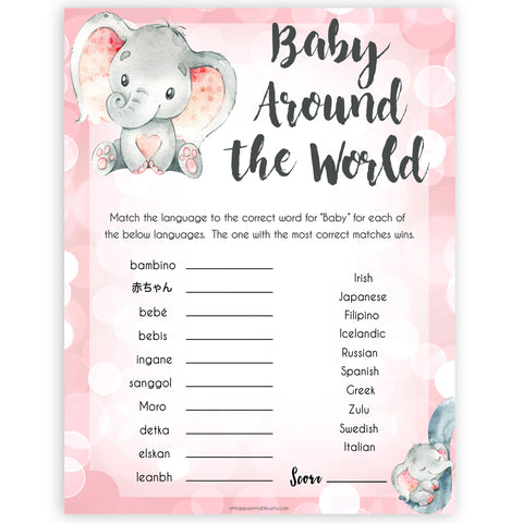 pink elephant baby games, baby around the world baby shower games, printable baby shower games, baby shower games, fun baby games, popular baby games, pink baby games