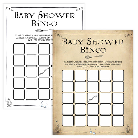 Baby Shower Bingo, Wizard baby shower games, printable baby shower games, Harry Potter baby games, Harry Potter baby shower, fun baby shower games,  fun baby ideas