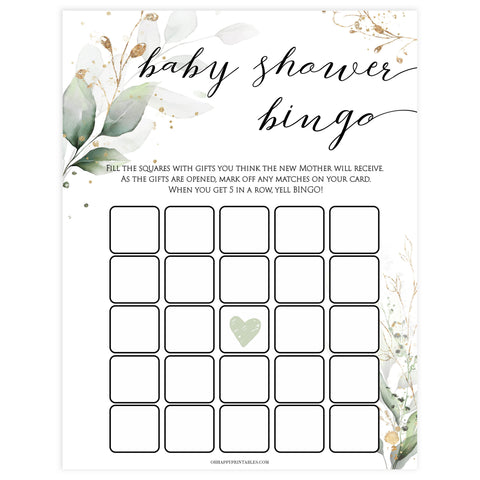 Gold green leaf baby games, baby shower bingo, printable baby games, fun baby games, top baby games to play, gold leaf baby shower, greenery baby shower ideas