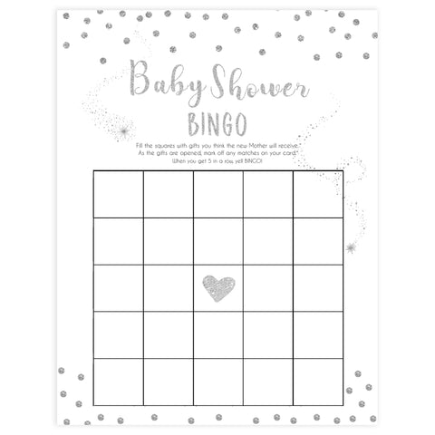 baby shower bingo, Printable baby shower games, baby silver glitter fun baby games, baby shower games, fun baby shower ideas, top baby shower ideas, silver glitter shower baby shower, friends baby shower ideas