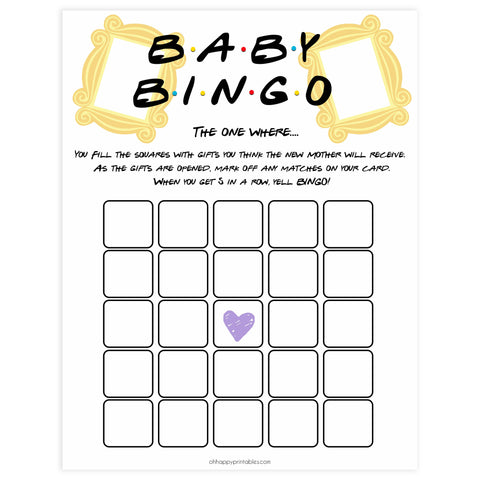 baby shower bingo, Printable baby shower games, friends fun baby games, baby shower games, fun baby shower ideas, top baby shower ideas, friends baby shower, friends baby shower ideas