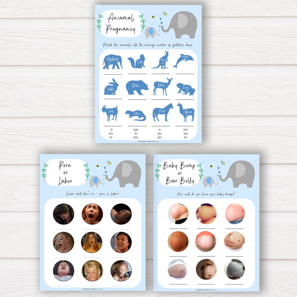 Little Peanut mega pack baby shower games, porn or labor games, funny baby shower games, porn or labour, baby bump or beer belly