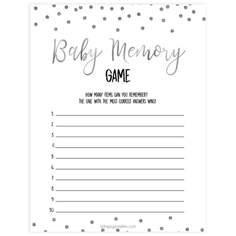 baby memory game, Printable baby shower games, baby silver glitter fun baby games, baby shower games, fun baby shower ideas, top baby shower ideas, silver glitter shower baby shower, friends baby shower ideas