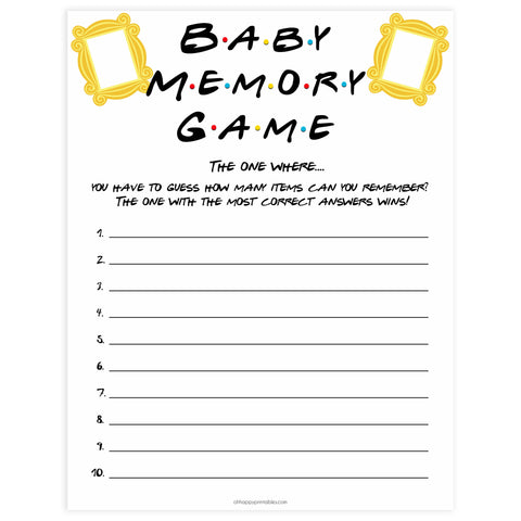 baby memory game, Printable baby shower games, friends fun baby games, baby shower games, fun baby shower ideas, top baby shower ideas, friends baby shower, friends baby shower ideas