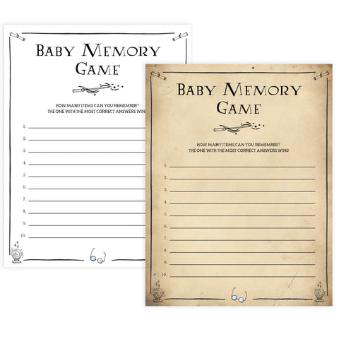 Baby Memory Game, Wizard baby shower games, printable baby shower games, Harry Potter baby games, Harry Potter baby shower, fun baby shower games,  fun baby ideas