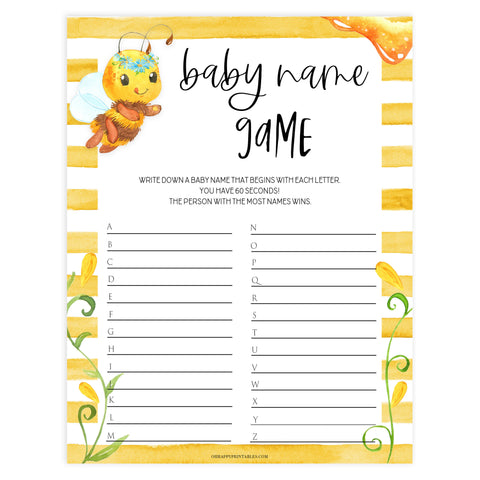 baby name race game, Printable baby shower games, mommy bee fun baby games, baby shower games, fun baby shower ideas, top baby shower ideas, mommy to bee baby shower, friends baby shower ideas