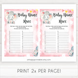 pink elephant baby games, baby name race baby shower games, printable baby shower games, baby shower games, fun baby games, popular baby games, pink baby games