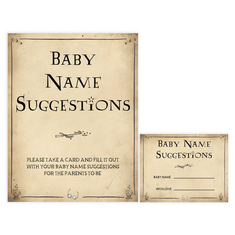 Baby Name Suggestions Game, Wizard baby shower games, printable baby shower games, Harry Potter baby games, Harry Potter baby shower, fun baby shower games,  fun baby ideas
