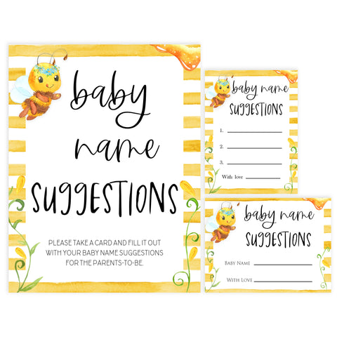 baby name suggestions game, Printable baby shower games, mommy bee fun baby games, baby shower games, fun baby shower ideas, top baby shower ideas, mommy to bee baby shower, friends baby shower ideas