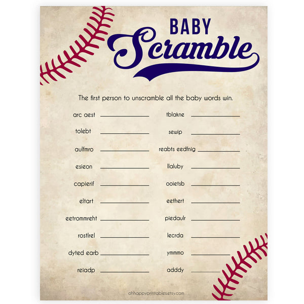 Baseball Baby Word Scramble Game, Baby Word Scramble, Baby Scattagories, Funny Baby Shower Games, Word Scramble, Baby Shower Party, printable baby shower games, fun baby shower games, popular baby shower games
