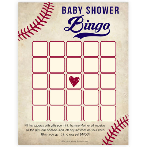 Baseball Baby Shower Bingo, Baseball Baby Shower Games, Baseball Baby Bingo Game, Printable Baby Shower Games, Baby Shower Games, printable baby shower games, fun baby shower games, popular baby shower games