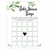 Botanical Baby Shower Bingo, Greenery Gender Neutral Baby Shower Games, Baby Bingo Game, Green Baby Shower, Botanical Baby Shower Games, best baby shower games, funny abby games, top baby games