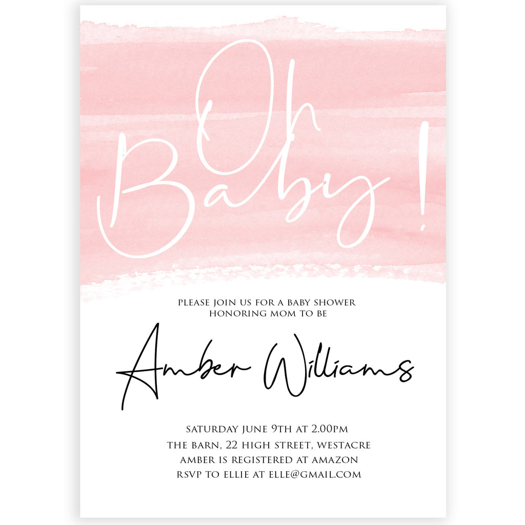 Oh Baby Shower Editable Invitation Template