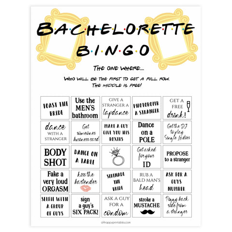 bachelorette bingo, adult bingo game, Printable bachelorette games, friends bachelorette, friends hen party games, fun hen party games, bachelorette game ideas, friends adult party games, naughty hen games, naughty bachelorette games