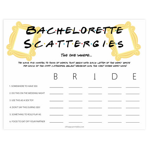 bachelorette scattergories game, Printable bachelorette games, friends bachelorette, friends hen party games, fun hen party games, bachelorette game ideas, friends adult party games, naughty hen games, naughty bachelorette games
