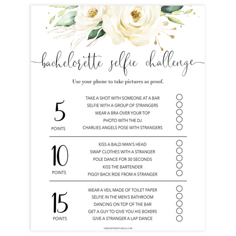 bachelorette selfie challenge game, Printable bachelorette games, floral bachelorette, floral hen party games, fun hen party games, bachelorette game ideas, floral adult party games, naughty hen games, naughty bachelorette games