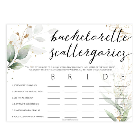bachelorette scattergories game, Printable bachelorette games, greenery bachelorette, gold leaf hen party games, fun hen party games, bachelorette game ideas, greenery adult party games, naughty hen games, naughty bachelorette games