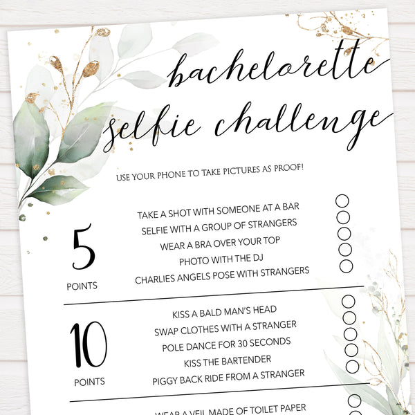 bachelorette selfie challenge, Printable bachelorette games, greenery bachelorette, gold leaf hen party games, fun hen party games, bachelorette game ideas, greenery adult party games, naughty hen games, naughty bachelorette games
