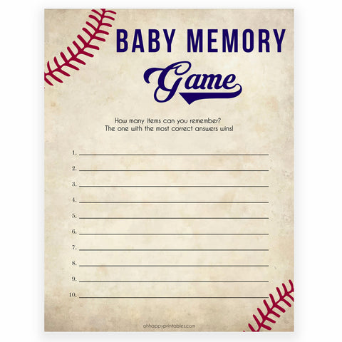 Baby Memory Game Baseball, Printable Baby Shower Games, Baby Shower Memory Game, Baby Shower Games, Baby Guessing Game, Little Slugger, printable baby shower games, fun baby shower games, popular baby shower games
