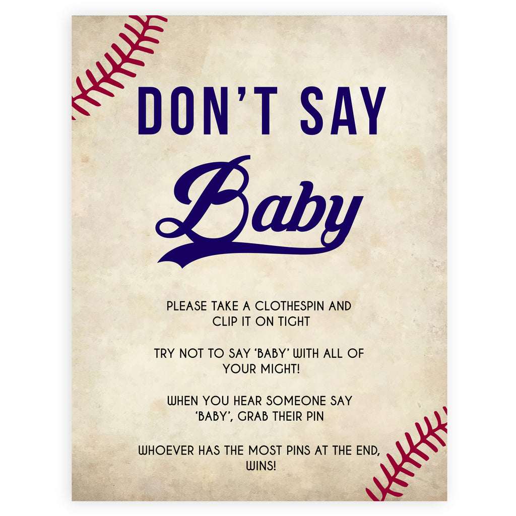 photo relating to Don T Say Baby Printable called Dont Say Boy or girl Video game - Baseball