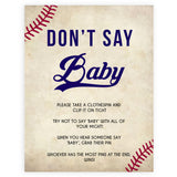 Baseball Don't Say Baby, Don't Say Baby Sign, Don't Say Baby, Printable Baby Shower Games, Dont Say Game, Little Slugger Baby Shower, printable baby shower games, fun baby shower games, popular baby shower games