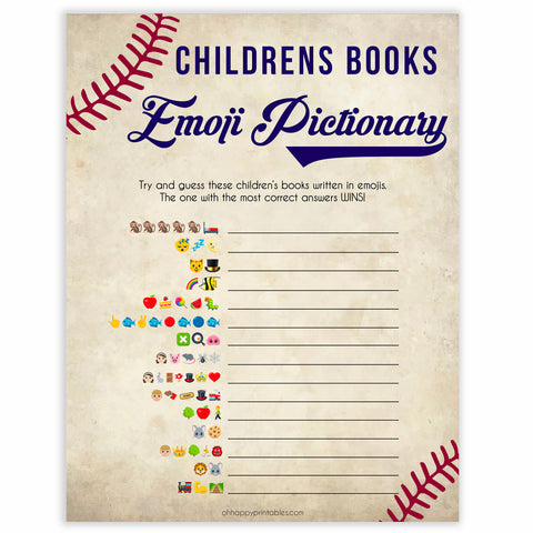 Baseball Childrens Books Emoji Pictionary, Childrens Book Emoji Game, Printble Baby Shower Games, Little Slugger Emoji Baby Shower, printable baby shower games, fun baby shower games, popular baby shower games