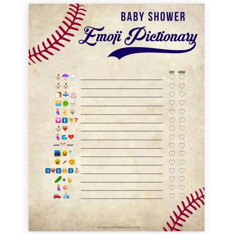 Baseball Emoji Pictionary Baby Shower Games, Emoji Baby Shower Games, Baseball Emoji Pictionary, Baseball Baby Shower Emoji Game, printable baby shower games, little slugger baby shower games, fun baby shower games