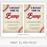 baseball message from the bump, baby shower games, baby shower signs, printable baby shower games, fun baby shower games, popular baby shower games