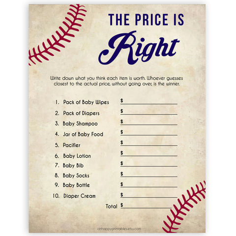 Baseball Price Is Right Baby Shower Game, Guess The Price Games, Baby Shower Price Games, Price Is Right Game, Baby Price Is Right, printable baby shower games, fun baby shower games, popular baby shower games