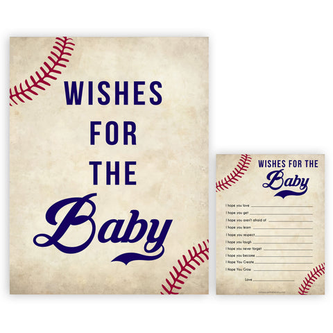 Baseball Wishes For The Baby, Baby Wishes, Wishes for The Baby, Baseball Baby Shower, Baby Shower Baby Wishes, Baby Wishes Cards, printable baby shower games, fun baby shower games, popular baby shower games
