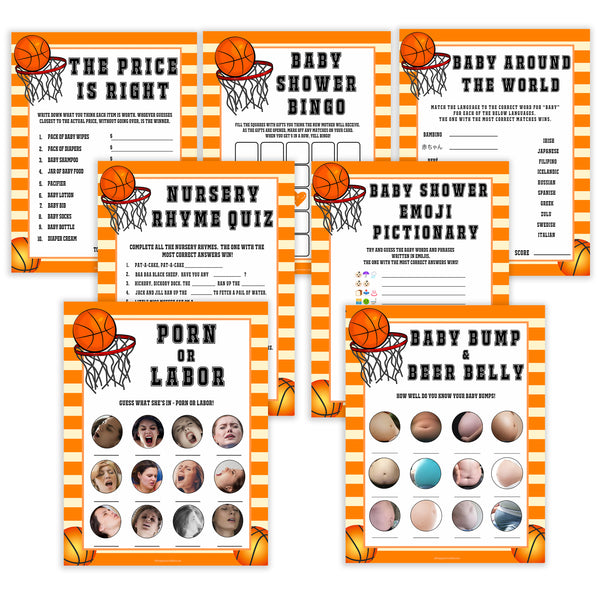 Basketball baby shower games, basketball baby games bundle, baby games pack, baby game, printable baby games, basket baby games, baby shower games, basketball baby shower idea