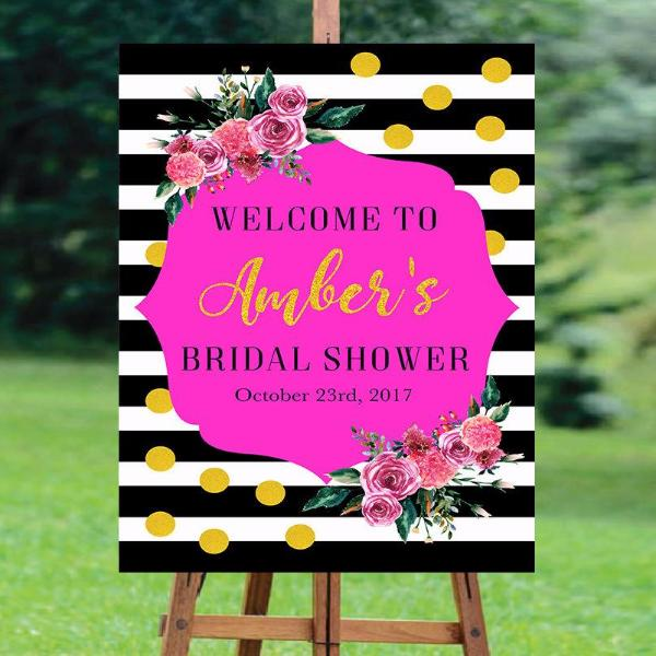 Floral Black & White Striped Welcome Sign