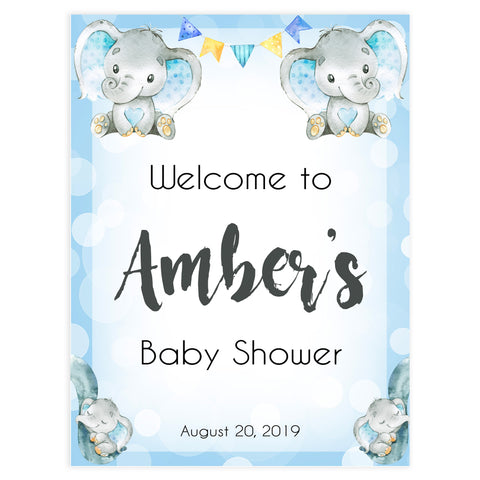 baby shower welcome signs, printable baby shower welcome sign, blue elephant baby shower, elephant baby games,