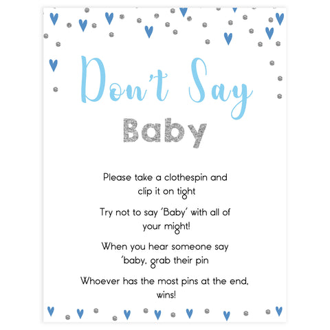 Don't say baby game, baby clothes pin game, Printable baby shower games, small blue hearts fun baby games, baby shower games, fun baby shower ideas, top baby shower ideas, silver baby shower, blue hearts baby shower ideas