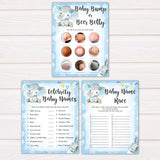 9 blue elephant baby shower games, baby shower games, baby games, baby shower ideas, its a boy baby games
