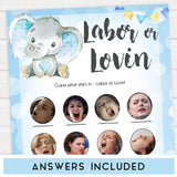 Blue elephant baby games, labour or lovin, labor or porn, elephant baby games, printable baby games, top baby games, best baby shower games, baby shower ideas, fun baby games, elephant baby shower