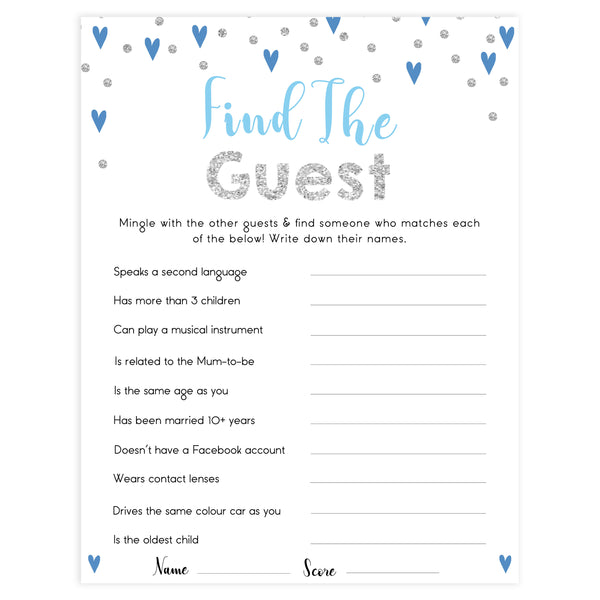 find the guest baby game, Printable baby shower games, small blue hearts fun baby games, baby shower games, fun baby shower ideas, top baby shower ideas, silver baby shower, blue hearts baby shower ideas