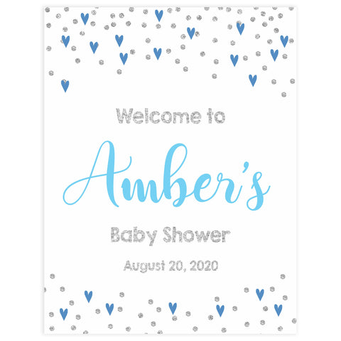 baby welcome sign, blue hearts baby signs, printable baby welcome signs, blue hearts baby decor, baby welcome signs