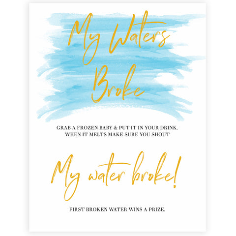 Blue swash, my waters broke baby games, baby shower games, printable baby games, fun baby games, boy baby shower games, baby games, fun baby shower ideas, baby shower ideas, boy baby games, blue baby shower