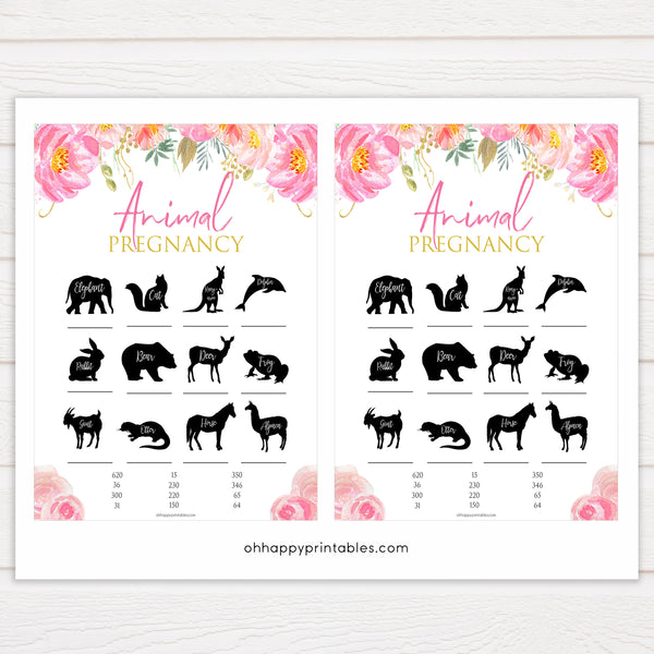 floral pink baby shower games, animal pregnancy baby games, baby shower games, printable baby shower games, fun baby shower games