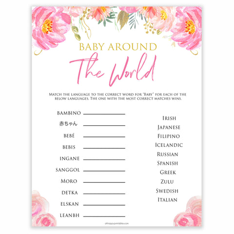 baby around the world floral blush baby shower games, printable baby shower games, fun baby shower games, popular baby shower games