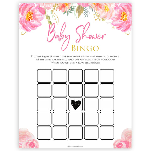 Pink blush floral baby shower bingo game, printable baby games, baby shower games, blush baby shower, floral baby games, girl baby shower ideas, pink baby shower ideas, floral baby games, popular baby games, fun baby games