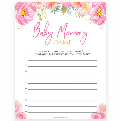 Pink blush floral baby memory game, printable baby games, baby shower games, blush baby shower, floral baby games, girl baby shower ideas, pink baby shower ideas, floral baby games, popular baby games, fun baby games