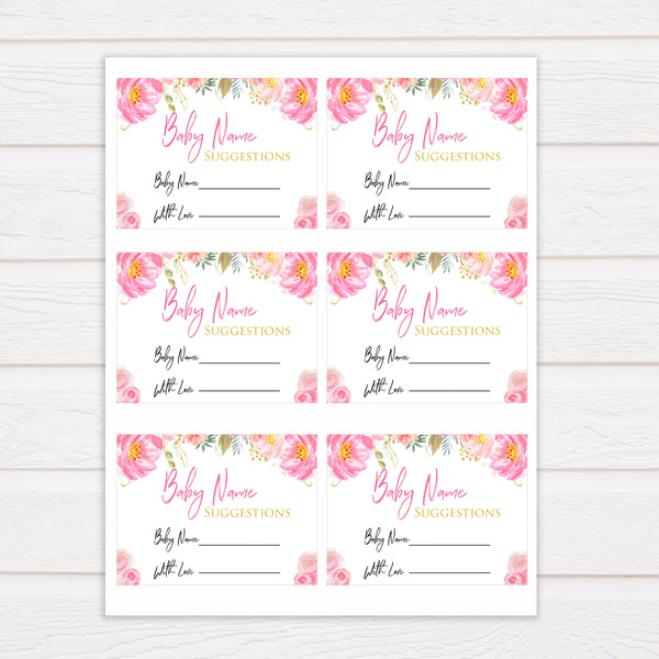 blush flora baby name suggestion game, printable baby games, baby shower games, floral baby games, floral baby shower, girl baby shower idea, girl baby games