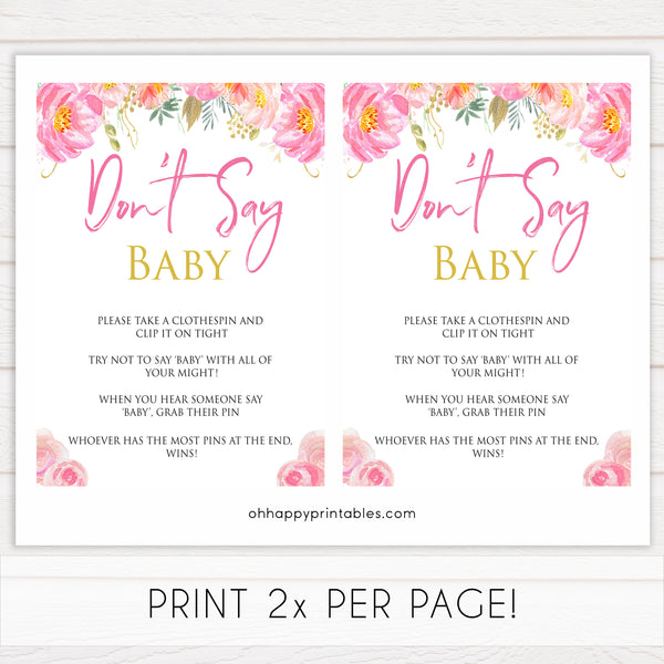 Pink blush floral dont say baby game, printable baby games, baby shower games, blush baby shower, floral baby games, girl baby shower ideas, pink baby shower ideas, floral baby games, popular baby games, fun baby games