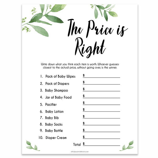 Botanical Price Is Right Baby Shower Game, Gold Guess The Price Games, Eucalyptus Baby Shower Price Games, Green Price Is Right Game